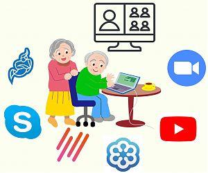 Illustration mit älterem Ehepaar am Laptop, mit Logos von Video-Software-Anbietern drumherum