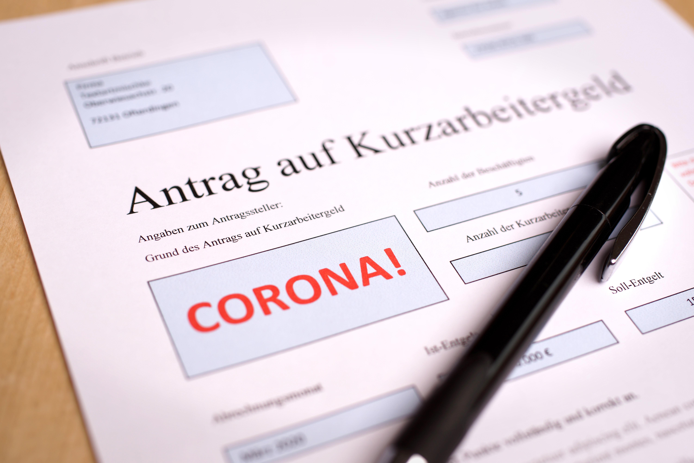 Antragsformular Kurzarbeiter Geld mit  Corona Eintrag