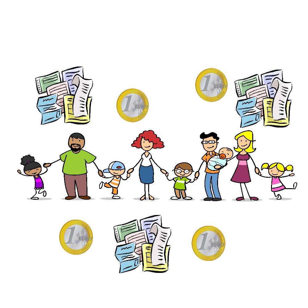 Zeichnung: Hände haltende Eltern und Kinder mit Papierkram und Euro-Stücken um sich herum
