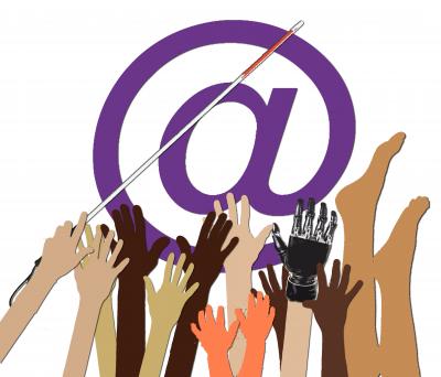Logo der Veranstaltung: Internet für alle. Das Bild zeigt behinderte und nicht-behinderte Hände aus verschiedenen Kulturen, die sich nach einem @-Symbol strecken