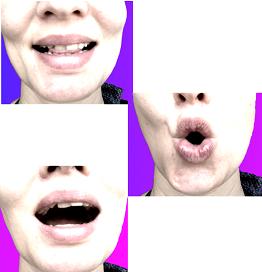 3 Nahaufnahmen von verschiedenen Mundformen